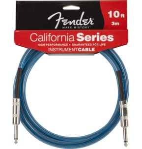 Fender California Instrument Cable, 10', Lake Placid Blue