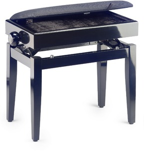 Stagg PB55 Adjustable Piano Stool - Black Highgloss With Music Storage & Black Fireproof Velvet Top