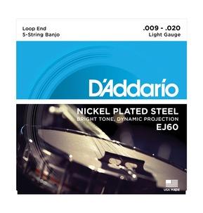 D'Addario EJ60 5-String Banjo, Nickel, Light, 9-20 Banjo Strings