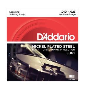 D'Addario EJ61 5-String Banjo, Nickel, Medium, 10-23 Banjo Strings