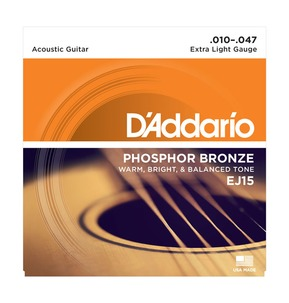 D'Addario EJ15 Phosphor Bronze, Extra Light, 10-47 Acoustic Strings