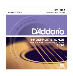 D'Addario EJ26 Phosphor Bronze, Custom Light, 11-52 Acoustic Strings