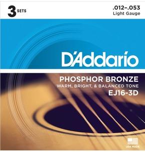 D'Addario EJ16-3D Phosphor Bronze, Light, 12-53 Acoustic Strings x 3 Sets