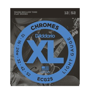 D'Addario ECG25 Chromes Flat Wound, Light, 12-52 Electric Strings