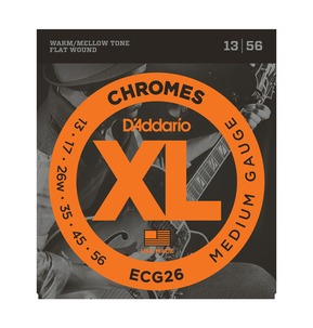 D'Addario ECG26 Chromes Flat Wound, Medium, 13-56 Electric Strings