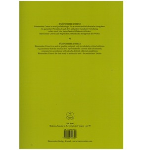 Brahms: Sonata in F for Cello & Piano Op. 99 (Barenreiter Edition)