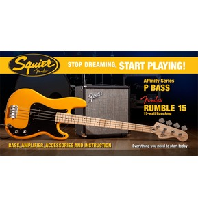 Fender Squier Affinity Precision Bass & Rumble 15 Amp, Butterscotch Blonde