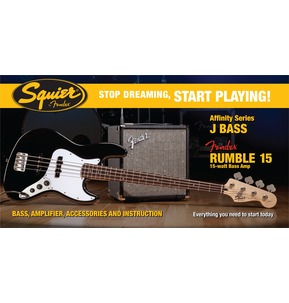 Fender Squier Affinity Jazz Bass & Rumble 15 Amp, Black
