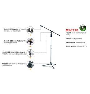 Hercules Tripod Microphone Stand with boom & Quik-N-EZ Adaptor MS631B